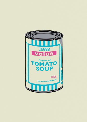 Banksy:Soup Can (Turquoise / Pink)