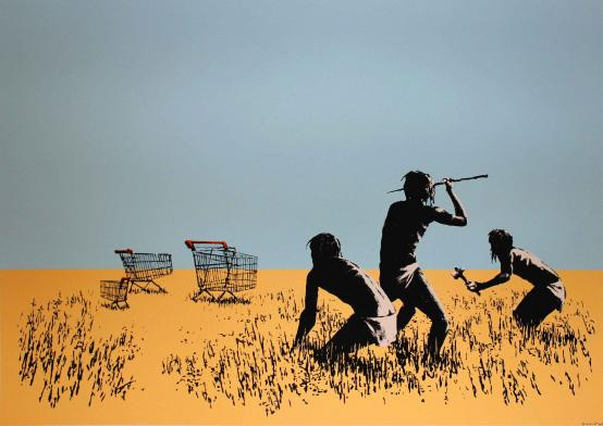 Banksy:Trolley Hunters (Trolleys) - Coloured