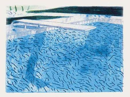 David Hockney:Lithograph of Water Made of Thick and Thin Lines and a Light Blue and a Dark Blue Wash (T.208)