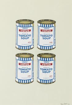 Banksy:4 Soup Cans - Gold on Cream