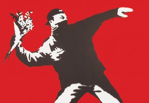 Banksy:Love is in the Air (Flower Thrower)