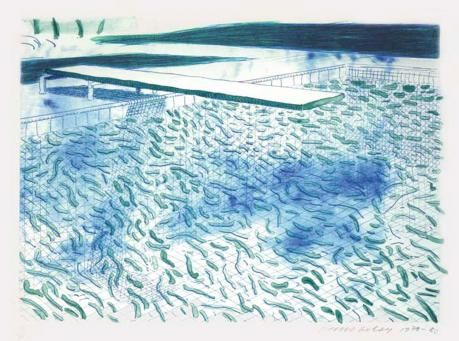 David Hockney:Lithograph of Water Made of Lines and a Green Wash (T. 204)
