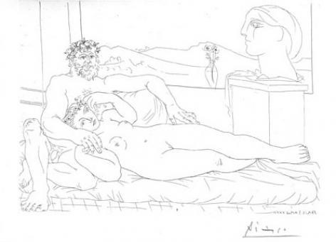 Pablo Picasso:Vieux Sculpteur et Jeune Modèle avec le Portrait Sculpté du Modèle